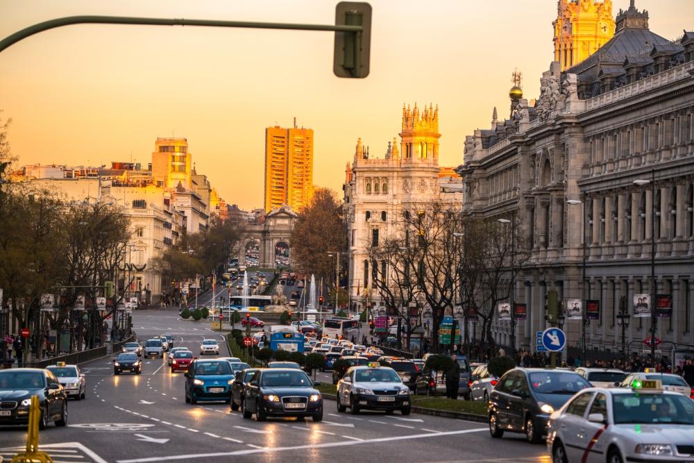 Evening traffic in Madrid, Spain